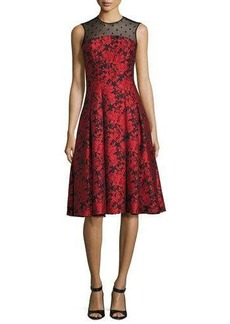 Carmen Marc Valvo Sleeveless Floral Jacquard Fit-and-Flare Dress