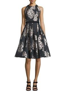 Carmen Marc Valvo Sleeveless Floral Jacquard Party Dress
