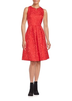 Carmen Marc Valvo Sleeveless Floral Lace Dress