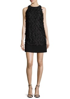 Carmen Marc Valvo Sleeveless Floral Leaf Shift Dress