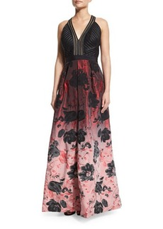 Carmen Marc Valvo Sleeveless Floral Ombre Gown