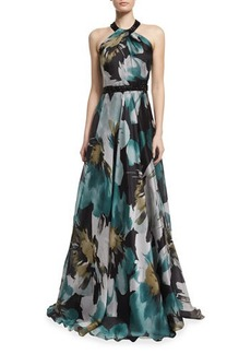 Carmen Marc Valvo Sleeveless Floral-Print Ball Gown