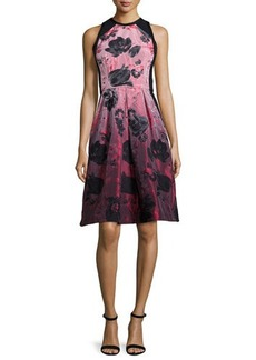 Carmen Marc Valvo Sleeveless Floral-Print Fit & Flare Dress