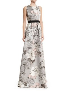 Carmen Marc Valvo Sleeveless Floral-Print Gown