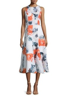 Carmen Marc Valvo Sleeveless Floral-Print Midi Dress