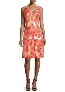 Carmen Marc Valvo Sleeveless Floral-Print Pleated Dress
