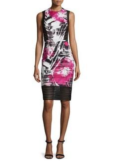Carmen Marc Valvo Sleeveless Floral-Print Sheath Dress W/ Mesh