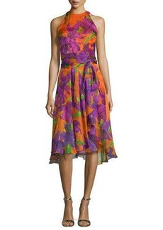 Carmen Marc Valvo Sleeveless Floral-Print Silk Dress