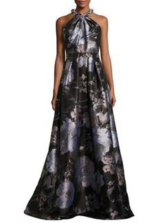 Carmen Marc Valvo Sleeveless Floral Satin Ball Gown