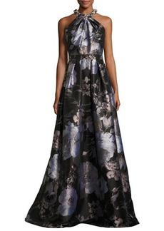 Carmen Marc Valvo Sleeveless Floral Satin Ball Gown