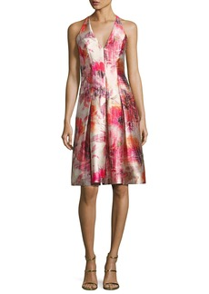 Carmen Marc Valvo Sleeveless Floral Satin Twill Cocktail Dress