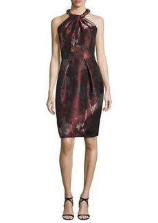 Carmen Marc Valvo Sleeveless Floral Sheath Dress