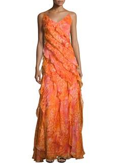 Carmen Marc Valvo Sleeveless Floral Silk Ruffle Gown
