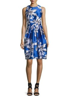 Carmen Marc Valvo Sleeveless Floral Silk Satin Cocktail Dress