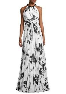 Carmen Marc Valvo Sleeveless Floral Silk Twist Gown