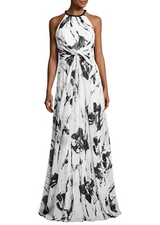 Carmen Marc Valvo Sleeveless Floral Silk Twist Gown
