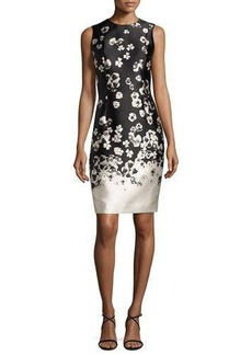Carmen Marc Valvo Sleeveless Floral Taffeta Cocktail Dress