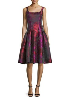 Carmen Marc Valvo Sleeveless Floral Taffeta Dress