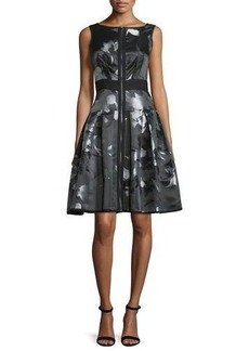 Carmen Marc Valvo Sleeveless Floral Zip-Front Fit-and-Flare Dress