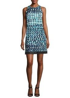 Carmen Marc Valvo Sleeveless Geometric Cocktail Dress