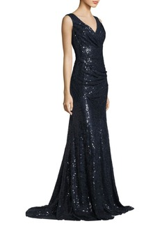 Carmen Marc Valvo Sleeveless Glossy Gown
