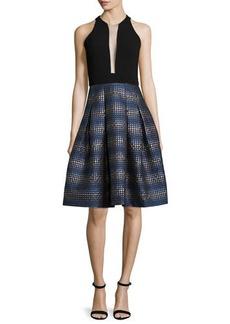 Carmen Marc Valvo Sleeveless Illusion V-Neck Fit & Flare Dress