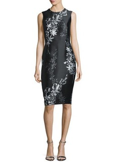 Carmen Marc Valvo Sleeveless Jewel-Neck Floral Sheath Dress