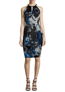 Carmen Marc Valvo Sleeveless Keyhole-Front Floral Sheath Dress