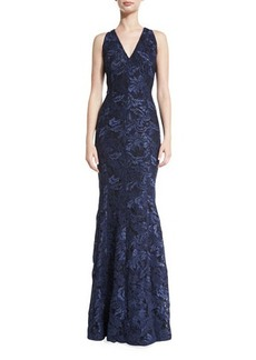 Carmen Marc Valvo Sleeveless Lace Mermaid Gown