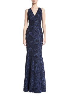Carmen Marc Valvo Sleeveless Lace Mermaid Gown