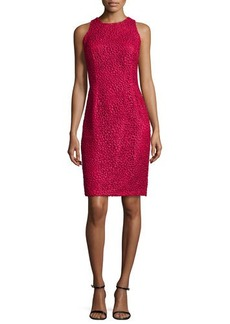 Carmen Marc Valvo Sleeveless Lace Sheath Dress