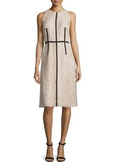 Carmen Marc Valvo Sleeveless Lace Sheath Dress W/ Ribbon Trim