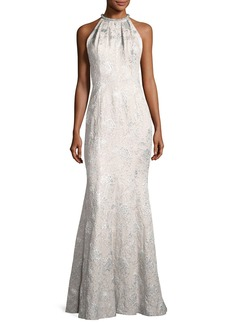 Carmen Marc Valvo Sleeveless Metallic Brocade Gown