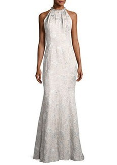 Carmen Marc Valvo Sleeveless Metallic Brocade Gown