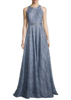 Carmen Marc Valvo Sleeveless Metallic Floral Gown