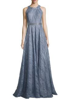 Carmen Marc Valvo Sleeveless Metallic Floral Gown