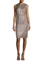 Carmen Marc Valvo Sleeveless Metallic Tweed Cocktail Dress