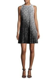 Carmen Marc Valvo Sleeveless Ombre Sequined Swing Dress