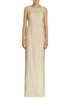 Carmen Marc Valvo Sleeveless Organza Circle Appliqué Gown