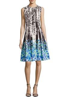 Carmen Marc Valvo Sleeveless Paisley & Floral Ponte Dress