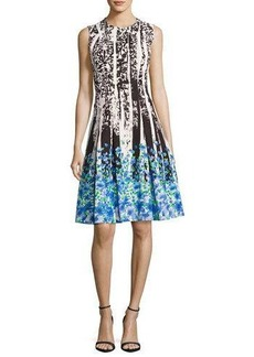 Carmen Marc Valvo Sleeveless Paisley & Floral Ponte Dress