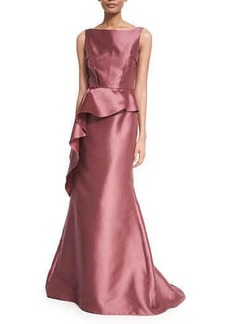 Carmen Marc Valvo Sleeveless Peplum Ball Gown