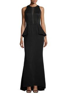 Carmen Marc Valvo Sleeveless Peplum Gown W/Sheer Inset