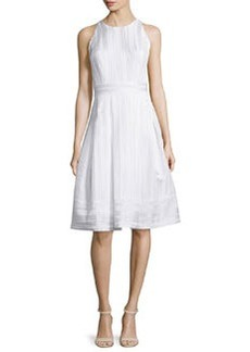 Carmen Marc Valvo Sleeveless Pleated Fit & Flare Dress