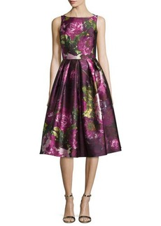Carmen Marc Valvo Sleeveless Pleated Floral Cocktail Dress
