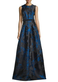 Carmen Marc Valvo Sleeveless Pleated Floral Satin Gown
