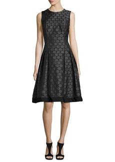 Carmen Marc Valvo Sleeveless Pleated Jacquard Dress