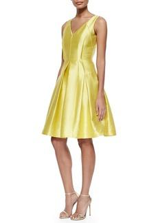 Carmen Marc Valvo Sleeveless Pleated Textured Party Dress