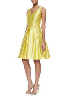Carmen Marc Valvo Sleeveless Pleated Textured Party Dress