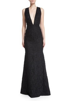 Carmen Marc Valvo Sleeveless Plunging V-Neck Lace Mermaid Gown